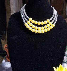 Gray Yellow Multi Strand Necklace